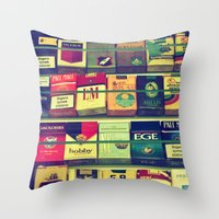 cigarette Throw Pillows featuring cigarette collection by gzm_guvenc