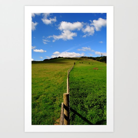 Fence in the field Art Print