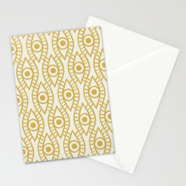 Vintage Golden Evil Eye Ogee Geometric Pattern, Hand-painted Eyes, Beautiful Oil Paint Texture on Light Beige Canvas Stationery Cards