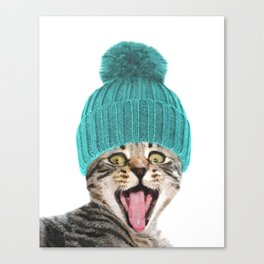 Cat with hat illustration Canvas Print