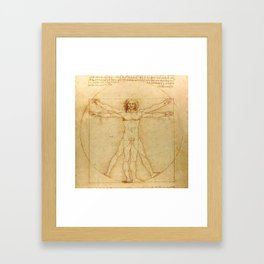 Le proporzioni del corpo umano secondo Vitruvio, Leonardo da Vinci, 1490 Framed Art Print