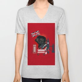 Proud London Pug Unisex V-Neck