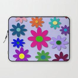 Flower Power - Light Purple Background - Fun Flowers - 60' Hippie Syle Laptop Sleeve