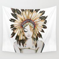 headdress Wall Tapestries featuring Girl in Headdress by Liz Slome