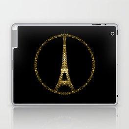 Paris Eiffel Tower gold sparkles peace symbol Laptop & iPad Skin
