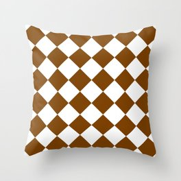 Large Diamonds - White and Chocolate Brown Throw Pillow