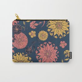 Multi-Florals in Blue & Coral Carry-All Pouch