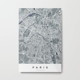 Paris, France Map   Grey & Blue   More Colors, Review My Collections Metal Print
