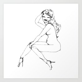 Girl in high heels Art Print