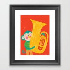 Tuba Monkey Framed Art Print