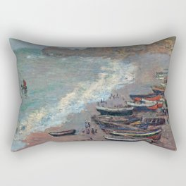 Boats on the Beach at Etretat by Claude Monet Rectangular Pillow