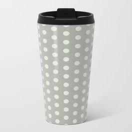 Gray Grey Polka Dots Metal Travel Mug