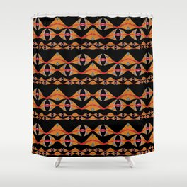 Polynesian Neo Tribal Ocean Fins Woven Pattern Shower Curtain