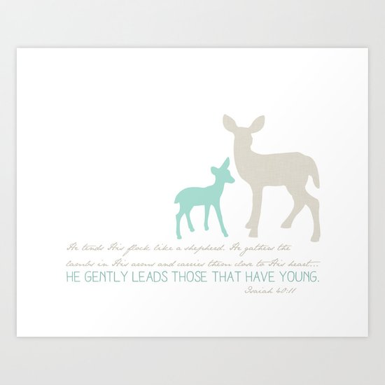 He Gently Leads - deer Art Print