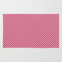 Rose Red and White Polka Dots Rug