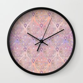 Persian Oriental Rose Marble and Silver Wall Clock