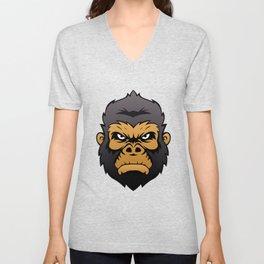 Gorilla Head Cartoon. Unisex V-Neck