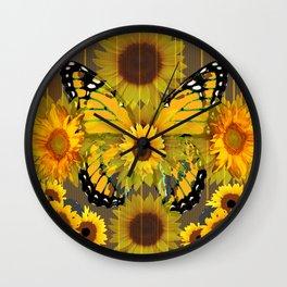 SUNFLOWER BOTANICALS YELLOW MONARCH BUTTERFLY Wall Clock