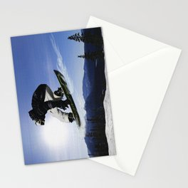 Born To Fly Snowboarder & Mountains Stationery Cards