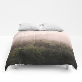 Pink Foggy Forest Landscape Photography Nature Earth Comforters