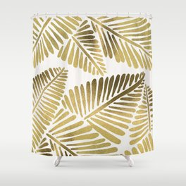 Tropical Banana Leaves – Gold Palette Shower Curtain