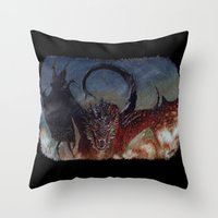 smaug Throw Pillows featuring Smaug by Cécile Pellerin