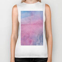 Girly pink lilac blue watercolor abstract pattern Biker Tank