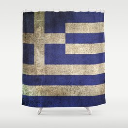 Old and Worn Distressed Vintage Flag of Greece Shower Curtain