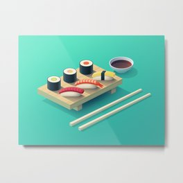 Sushi Isometric - Teal Metal Print