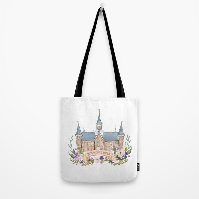 Provo City Center LDS watercolor Temple with flower wreath  Tote Bag