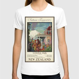 Château Tongariro Ntal Park, New Zealand - Vintage Poster T-shirt