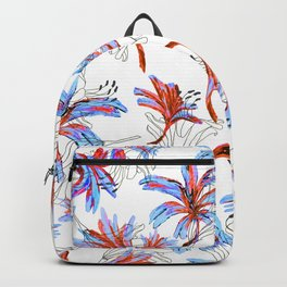 Floral Lace Blue&red Backpack