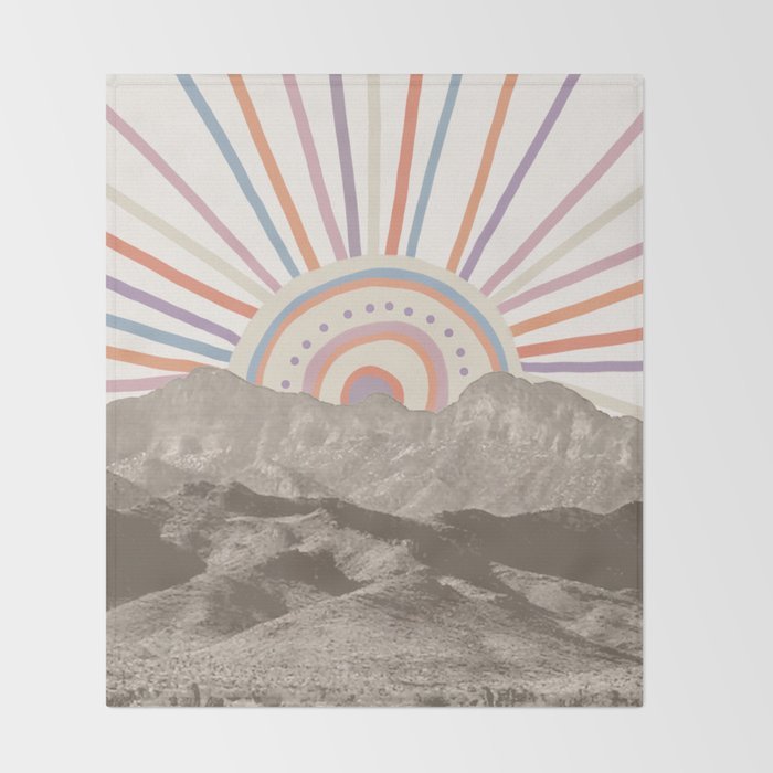 Summerlin Mountain Up // Abstract Vintage Mountains Summer Sun Surf Beach Vibe Drawing Happy Wall Ha Throw Blanket