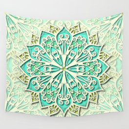 White cyan and yellow Beautiful Wedding Mandala Wall Tapestry