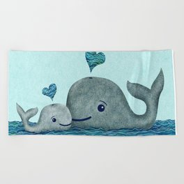 Whale Mom and Baby with Hearts in Gray and Turquoise Beach Towel