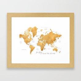 For God so loved the world, world map in gold Framed Art Print