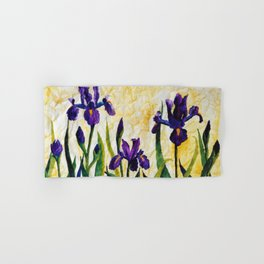 Watercolor Wild Iris on Wrinkled Paper Hand & Bath Towel