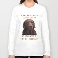 labrador Long Sleeve T-shirts featuring Chocolate Labrador by Nojjesz