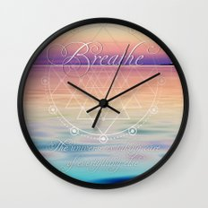Breathe - Reminder Affirmation Mindful Quote Wall Clock