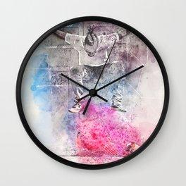 Skateboard Kickflip Painting Wall Clock