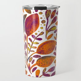 Watercolor branches and leaves - orange and purple Travel Mug