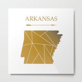 Arkansas In Gold Metal Print