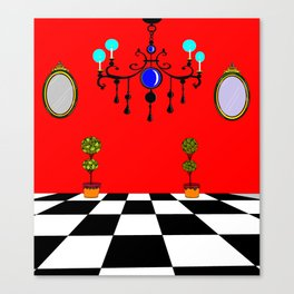 An Elegant Hall of Mirrors with Chandler and Topiary Canvas Print