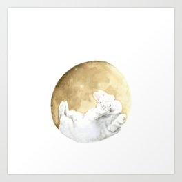 Moon rabbit -Moonlight Night- Art Print