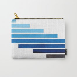 Prussian Blue Midcentury Modern Minimalist Staggered Stripes Rectangle Geometric Aztec Pattern Water Carry-All Pouch
