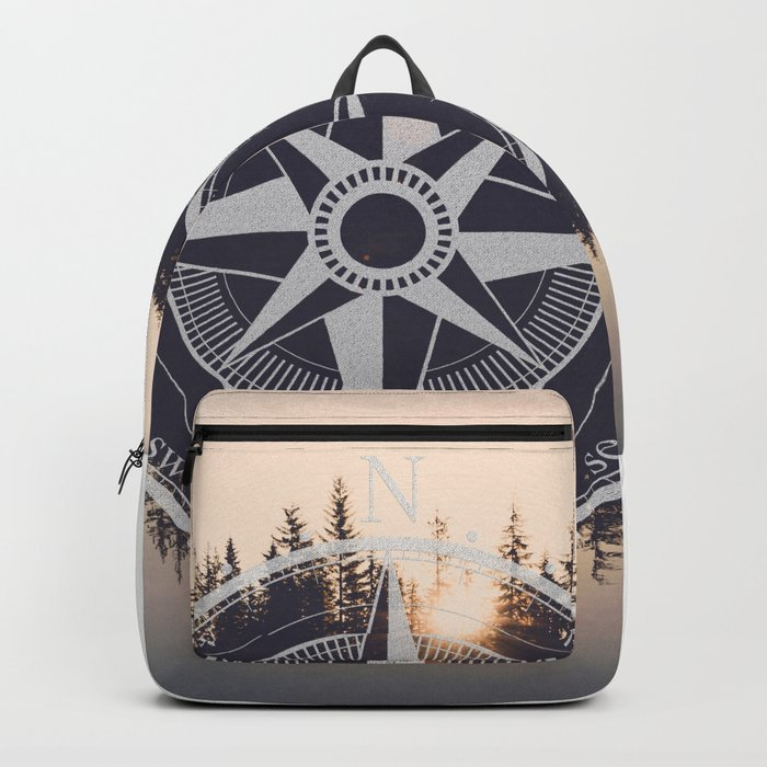 Wooded Lake Reflection Compass Backpack
