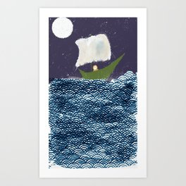 Green Boat Whimsical Illustration Art Print