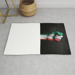 Italian Flag on a Raised Clenched Fist Rug