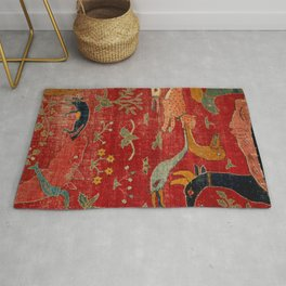 Animal Grotesques Mughal Carpet Fragment Digital Painting Rug
