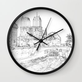 Illustration of Notre Dame de Paris Wall Clock